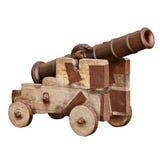 Middeleeuws die artilleriekanon op witte achtergrond wordt geïsoleerd Stock Afbeelding