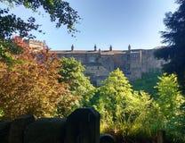 Middeleeuws die kasteel door de lentebomen wordt ontworpen stock fotografie