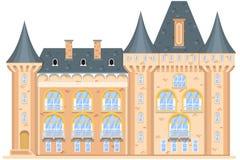 Middeleeuws die kasteel op witte achtergrond wordt geïsoleerd Stock Afbeeldingen