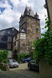 Middeleeuws dorp Bacharach Traditioneel kader Fachwerk h Stock Afbeelding