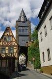 Middeleeuws dorp Bacharach Traditioneel kader Fachwerk h Royalty-vrije Stock Afbeeldingen