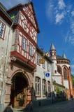 Middeleeuws dorp Bacharach Traditioneel kader Fachwerk ho Royalty-vrije Stock Foto