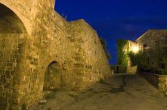 Middeleeuws dorp bij nacht Royalty-vrije Stock Fotografie