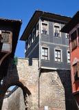 Middeleeuws-huis-van-oud-centrum-in, Bulgarije Stock Foto