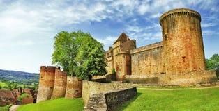 Middeleeuws kasteel Castelnau in Bretenoux Stock Afbeelding