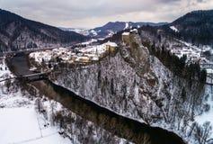 Middeleeuws kasteel in de winter Royalty-vrije Stock Foto