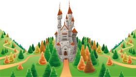 Middeleeuws kasteel in het land. royalty-vrije illustratie
