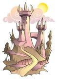 Middeleeuws kasteel in het ochtendzonlicht Stock Afbeeldingen