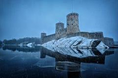 Middeleeuws kasteel Olavinlinna Stock Foto's