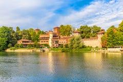 Middeleeuws Kasteel in Turijn, Italië stock fotografie