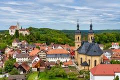 Middeleeuws Kasteel van Goessweinstein met Basiliek, Beieren in Duitsland royalty-vrije stock afbeelding