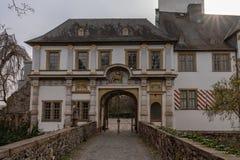 Middeleeuws kasteel van Hoechst, Frankfurt, Duitsland stock afbeelding