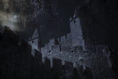 Middeleeuws kasteel in volle maannacht royalty-vrije stock afbeelding