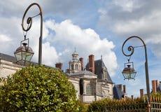 Middeleeuws koninklijk kasteel Fontainbleau dichtbij Parijs royalty-vrije stock foto's