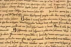 Middeleeuws Latijns manuscript Royalty-vrije Stock Fotografie