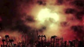 Middeleeuws Leger die hun Wapens in een Slagveld golven vóór een Oorlog vector illustratie