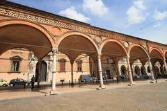 Middeleeuws marktvierkant in Bologna Stock Fotografie