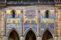 Middeleeuws mozaïek in Praag, Tsjechisch, Europees Oriëntatiepunt stock foto's