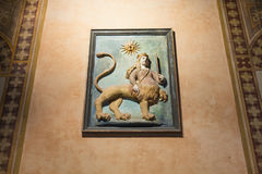 Middeleeuws muurdecor in Palazzo-della Ragione Stock Afbeeldingen
