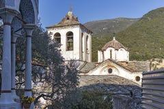 Middeleeuws Orthodox Klooster van Timiou Prodromou St John de Doopsgezinde dichtbijgelegen stad van Serres, Griekenland stock afbeeldingen