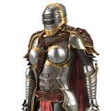 Middeleeuws pantser van fantasiehoogtepunt van vrouwen met een gesloten helm en een rode kaap Geïsoleerde witte achtergrond 3D Il stock illustratie