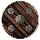 Middeleeuws rond houten schild van geïsoleerde Viking Stock Afbeelding