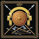 Middeleeuws schild, spears, lint vector illustratie