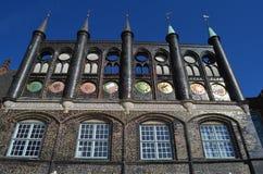 Middeleeuws stadhuis van de Hanseatic Stad van wenk LÃ ¼ Royalty-vrije Stock Afbeeldingen