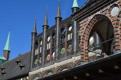 Middeleeuws stadhuis van de Hanseatic Stad van wenk LÃ ¼ Royalty-vrije Stock Afbeelding