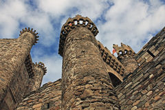Middeleeuws Templar Kasteel 1178 in Ponferrada, Spanje Stock Foto's