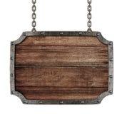 Middeleeuws uithangbord met geïsoleerdeb kettingen Royalty-vrije Stock Afbeelding