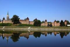 Middeleeuws vestingwerk in Nymburk stock foto