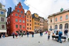 Middeleeuws vierkant Stortorget in Stockholm Stock Afbeeldingen