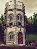 Middeleeuws watchtower en kanon royalty-vrije illustratie