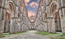 Middeleeuwse abdij van San Galgano in Siena, Toscanië, Italië Stock Afbeeldingen
