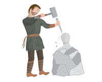 Middeleeuwse beeldhouwer Stock Afbeelding