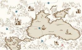 Middeleeuwse cartografie, de oude kaart van de piraatschat, vectorillustratie stock illustratie
