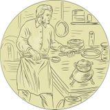Middeleeuwse Cook Kitchen Oval Drawing Stock Afbeeldingen