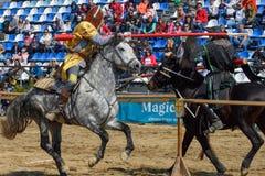 Middeleeuwse de ridderstoernooien van Transsylvanië in Roemenië stock fotografie