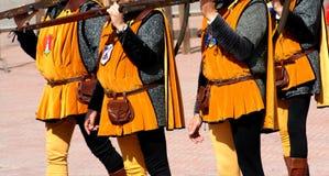 Middeleeuwse fest/schutters Stock Foto's