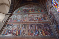 Middeleeuwse Fresko'sbasiliek van Santa Maria Novella - Florence stock foto's
