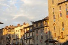 Middeleeuwse gebouwen in Arezzo (Toscanië, Italië) royalty-vrije stock foto's