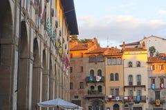 Middeleeuwse gebouwen in Arezzo (Toscanië, Italië) royalty-vrije stock afbeeldingen