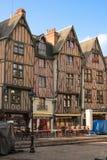 Middeleeuwse gebouwen op plaats Plumereau reizen frankrijk royalty-vrije stock foto