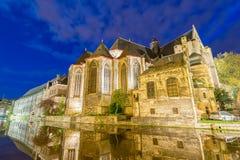 Middeleeuwse gebouwen van Mijnheer, België royalty-vrije stock fotografie