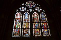 Het venster van het gebrandschilderd glas van de Kathedraal van Straatsburg in Frankrijk Stock Foto's