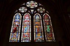 Het venster van het gebrandschilderd glas van de Kathedraal van Straatsburg in Frankrijk Stock Fotografie