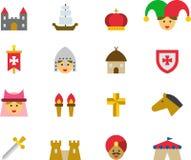 MIDDELEEUWSE gekleurde vlakke pictogrammen Royalty-vrije Stock Afbeelding
