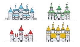 Middeleeuwse geplaatste vesting of kastelen Vlakke stijlpictogrammen Stock Foto