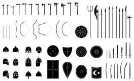 Middeleeuwse geplaatste wapens en pantsers Middeleeuws strijdersmateriaal stock illustratie